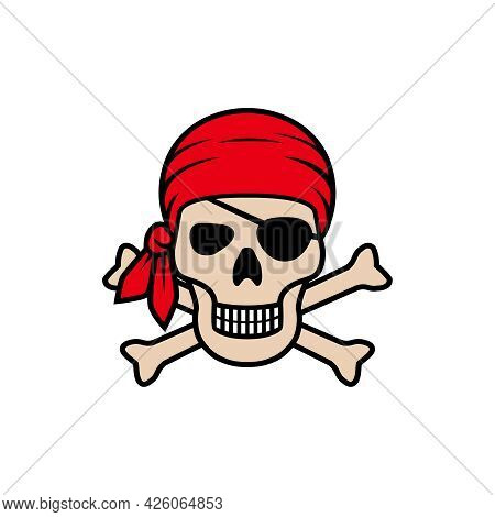 Symbol Jolly Roger. Icon Pirate Skull Isolated On White Background. Skull In Bandanna And Bones Grap