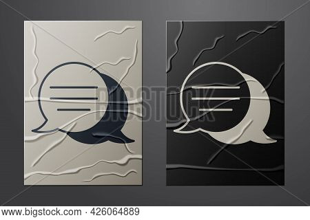 White Speech Bubble Chat Icon Isolated On Crumpled Paper Background. Message Icon. Communication Or