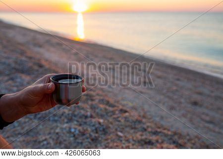 Sunrise At The Sea. Beautiful Sunrise On The Ocean. Meet The Dawn Early In The Morning With A Cup Of
