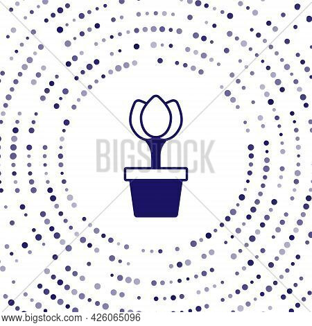 Blue Flower Tulip In Pot Icon Isolated On White Background. Plant Growing In A Pot. Potted Plant Sig