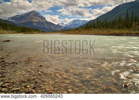 Sunwapta River Alberta Canada. The Sunwapta River With Tangle Peak In The Background. Rocky Mountain