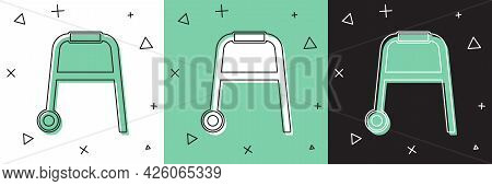 Set Walker For Disabled Person Icon Isolated On White And Green, Black Background. Vector