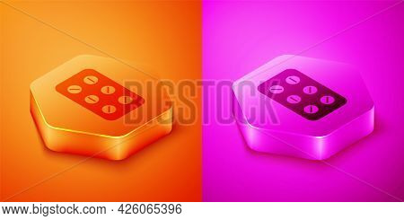 Isometric Pills In Blister Pack Icon Isolated On Orange And Pink Background. Medical Drug Package Fo