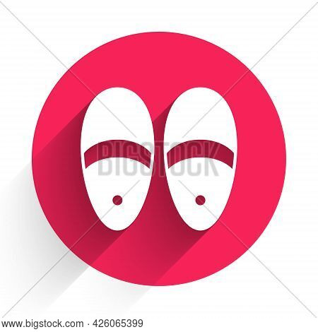White Slippers Icon Isolated With Long Shadow. Flip Flops Sign. Red Circle Button. Vector