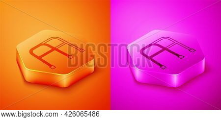 Isometric Walker For Disabled Person Icon Isolated On Orange And Pink Background. Hexagon Button. Ve