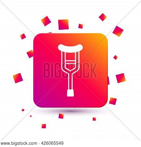 White Crutch Or Crutches Icon Isolated On White Background. Equipment For Rehabilitation Of People W