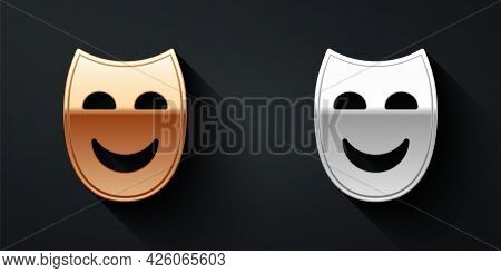 Gold And Silver Comedy Theatrical Mask Icon Isolated On Black Background. Long Shadow Style. Vector