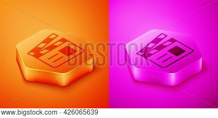 Isometric Movie Clapper Icon Isolated On Orange And Pink Background. Film Clapper Board. Clapperboar
