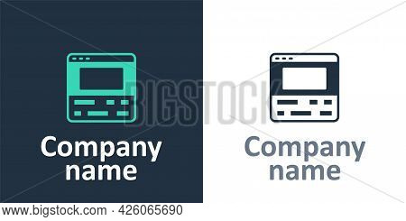 Logotype Video Recorder Or Editor Software On Laptop Icon Isolated On White Background. Video Editin