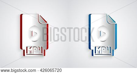 Paper Cut Mp4 File Document. Download Mp4 Button Icon Isolated On Grey Background. Mp4 File Symbol.