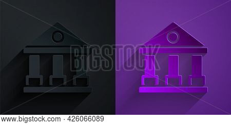 Paper Cut Courthouse Building Icon Isolated On Black On Purple Background. Building Bank Or Museum.