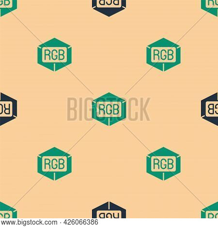 Green And Black Rgb And Cmyk Color Mixing Icon Isolated Seamless Pattern On Beige Background. Vector