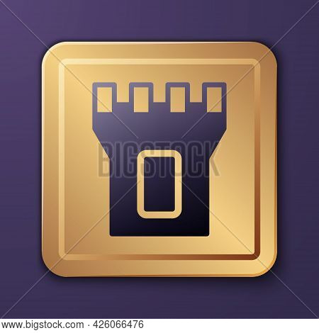 Purple Castle Tower Icon Isolated On Purple Background. Fortress Sign. Gold Square Button. Vector