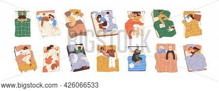Set Of Different People Lying Under Blankets, Sleeping And Dreaming In Beds. Asleep Couples, Familie