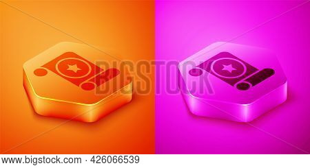 Isometric Magic Scroll Icon Isolated On Orange And Pink Background. Decree, Paper, Parchment, Scroll