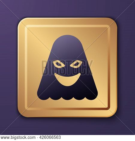 Purple Ghost Icon Isolated On Purple Background. Gold Square Button. Vector