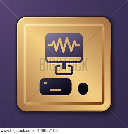 Purple Music Sound Recording Studio Control Room With Professional Equipment Icon Isolated On Purple