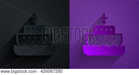 Paper Cut Ark Of Noah Icon Isolated On Black On Purple Background. Wood Big High Cargo. Paper Art St
