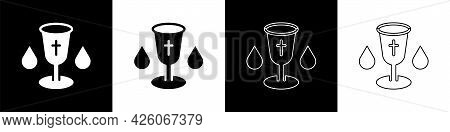 Set Christian Chalice Icon Isolated On Black And White Background. Christianity Icon. Happy Easter.