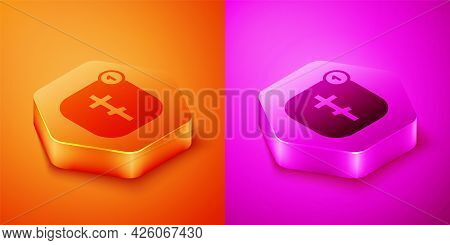 Isometric Online Church Pastor Preaching Video Streaming Icon Isolated On Orange And Pink Background
