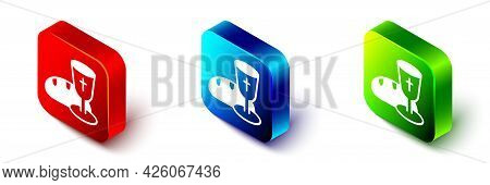 Isometric Goblet And Bread Icon Isolated On White Background. Bread And Wine Cup. Holy Communion Sig