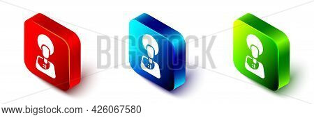 Isometric Jesus Christ Icon Isolated On White Background. Red, Blue And Green Square Button. Vector