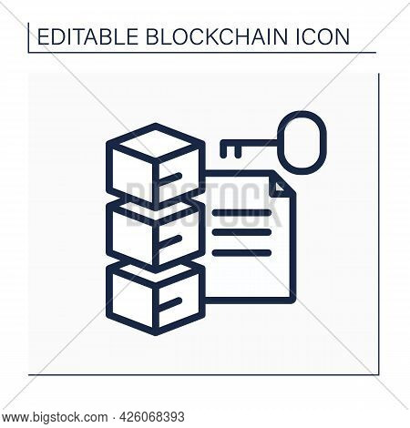 File Storage Line Icon. Transaction History, Cryptocurrency Data And Document Commit. Digital Money,
