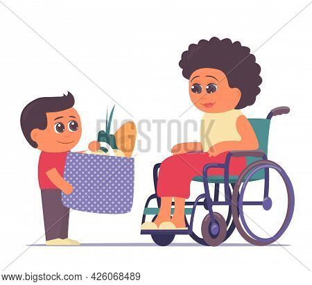 A Little Grandson Brought Food To His Grandmother In A Wheelchair. Caring For And Helping The Elderl