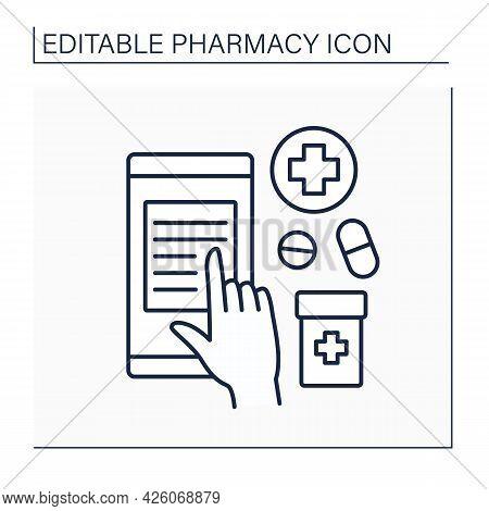 Online Prescription Line Icon. Internet Pharmacy. Online Ordering Pills. Pharmacy Concept. Isolated