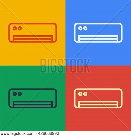 Pop Art Line Air Conditioner Icon Isolated On Color Background. Split System Air Conditioning. Cool