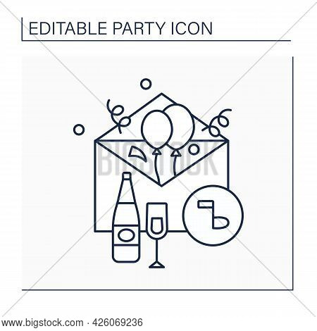 Invitation Card Line Icon. Card For Guests Invites Friends To Special Event. Postcard Invitation On
