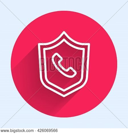 White Line Telephone 24 Hours Support Icon Isolated With Long Shadow. All-day Customer Support Call-