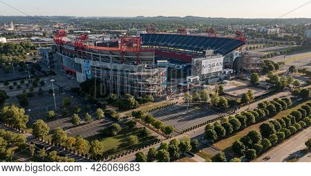 Nashville, Tennessee - 28 June 2021: Nissan Stadium In Nashville Tennessee At Sunset In The Early Mo