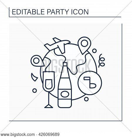 Farewell Party Line Icon. Party Before Leaving Country. Special Events For Saying Goodbye. Celebrati