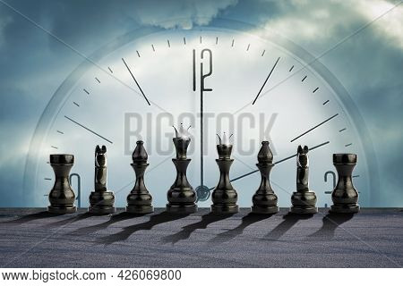 Black Chess Pieces On A Background Of A Cloudy Sky, With A Clock. Strategic Business Concept. Time T