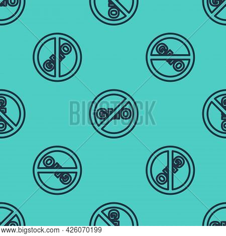 Black Line No Gmo Icon Isolated Black Line Background. Genetically Modified Organism Acronym. Dna Fo