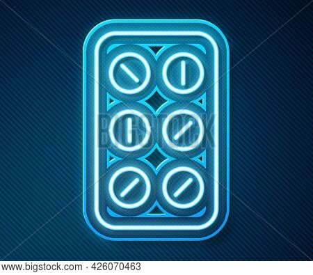 Glowing Neon Line Pills In Blister Pack Icon Isolated On Blue Background. Medical Drug Package For T