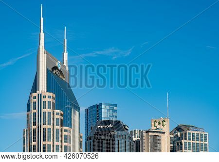 Nashville, Tennessee - 28 June 2021: Detail Of The Main Buildings Of The Financial Downtown District