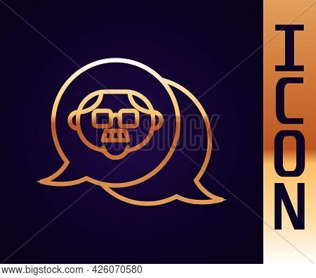 Gold Line Grandfather Icon Isolated On Black Background. Vector