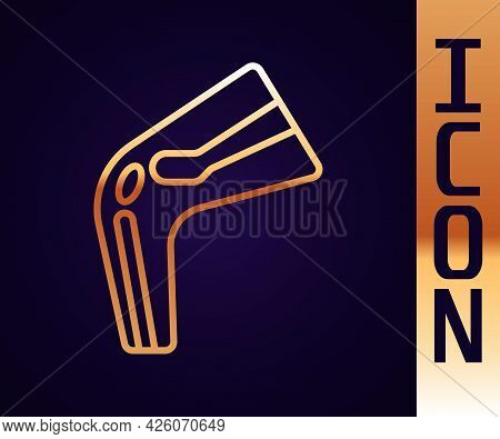 Gold Line Bone Pain Icon Isolated On Black Background. Orthopedic Medical. Disease Of The Joints And