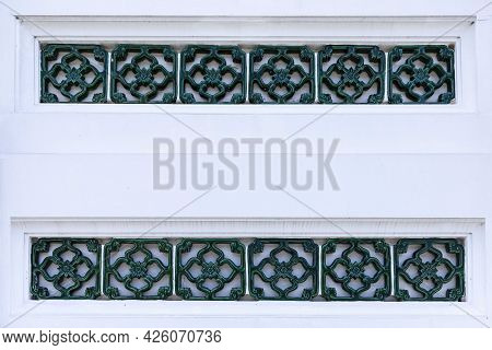 White Sandstone Fence Thai Temple Style Pattern And Background Seamless