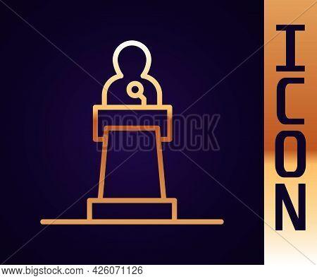 Gold Line Speaker Icon Isolated On Black Background. Orator Speaking From Tribune. Public Speech. Pe