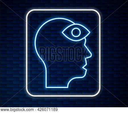 Glowing Neon Line Man With Third Eye Icon Isolated On Brick Wall Background. The Concept Of Meditati