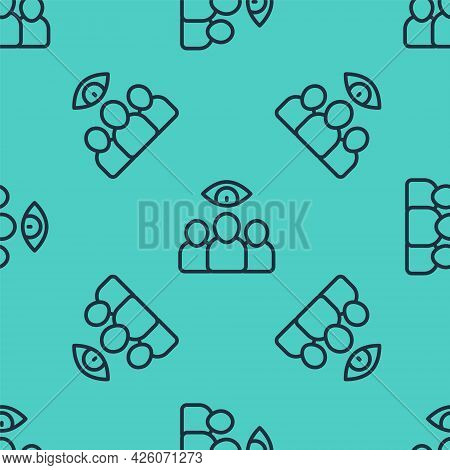 Black Line Spy, Agent Icon Isolated Seamless Pattern On Green Background. Spying On People. Vector
