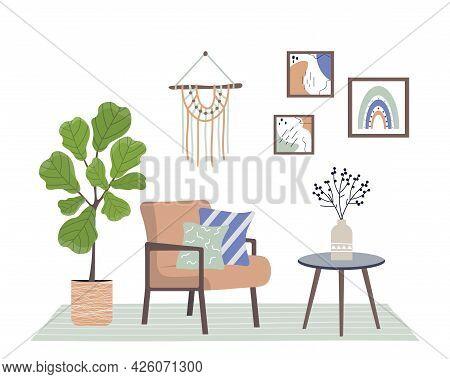 Cozy Interior With Armchair, House Plant And Decor. Retro Style Interior. Trendy Interior In Scandin