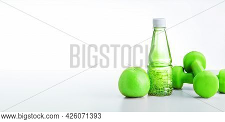 Healthy Lifestyle Concept, Sport Equipments And Fresh Foods On White Background. Web Banner.