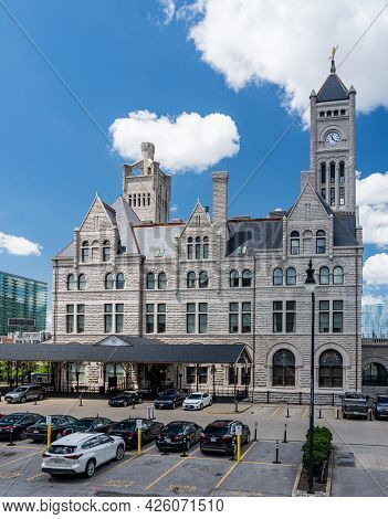 Nashville, Tennessee - 28 June 2021: Stone Exterior Of The Old Union Station In Nashville, Now A Hot