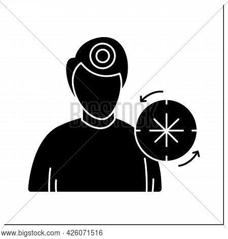 Headache Glyph Icon. Male Person With Time Circle. Chronic, Regular Migraine And Head Ache, Health P
