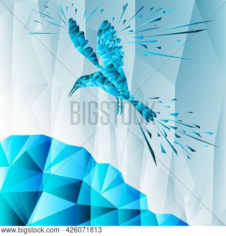 Blue Abstract Bird From Geometric Elements. Geometric Linear Abstract Style. The Bird Is Hovering Ov