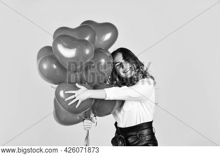 Surprise With Love. Helium Balloons For Party. Impressive Present. Happy Valentines Day. Birthday Pa